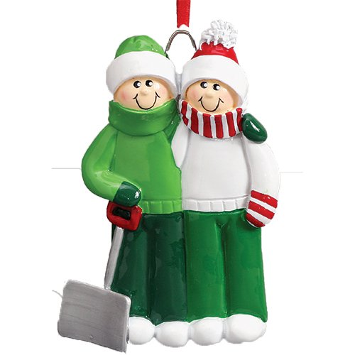 (Personalized Snow Shovel Family of 2 Christmas Tree Ornament 2019 - Cute Couple Green Winter Cloth Hold Spade Tradition Hug Gift 1st Love Romantic Year - Free Customization (Two))