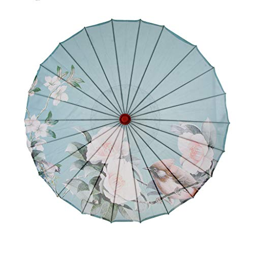 SM SunniMix Vintage Chinese Silk Cloth Umbrella Handmade Art Painted Parasol Diameter 84cm - 9, 84cm