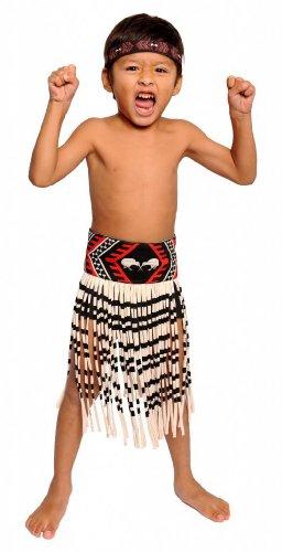 [Boy's 3-Piece Kapa Haka Maori Costume-Small / 20 inch waist.] (3 Piece Beaded Costumes)