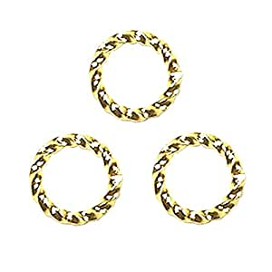 FANCY TWIST JUMP RINGS 16 gauge Free Shipping 50pcs Gold Plated 10mm