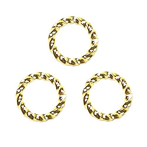 (FANCY TWIST JUMP RINGS 16 gauge 50pcs Gold Plated 8mm)
