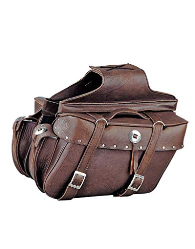 2 PIECE MOTORCYCLE REAL LEATHER STUDDED BROWN SADDLEBAG W/CONCHO
