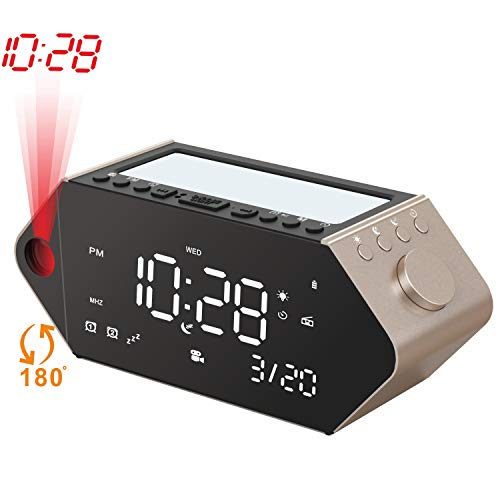 SICSMIAO Projection Alarm Clock with USB Charger, FM Radio Alarm Clock for Bedrooms, Digital Projection Clock with Snooze, Sunrise Light, Ceiling, Dual Alarms, 12/24 Hour, Battery Backup (Black).