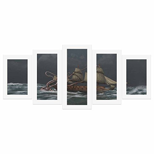 Set Attacking (InterestPrint Kraken Attacking an Ancient Ship 5 Pictures Paintings on Canvas Wall Art for Living Room Bedroom Home Decorations (No Frame))