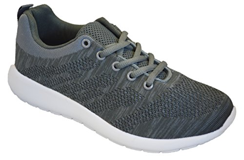 Womens Sneakers Athletic Knit Mesh Running Light Weight Go Easy Walking Casual Comfort Running Shoes 2.0 (5, Grey with Memory Foam Insole)