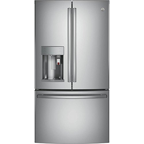 GE PFE28PSKSS Profile 27.8 Cu. Ft. Stainless Steel French Door Refrigerator - Energy Star (Refrigerator Steel Stainless Profile Ge)