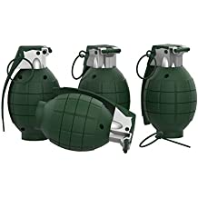 Toy Grenade Set of 4 with Trigger, Pull Pin, Realistic Explosion Sound Effects-Military Pretend Play Accessories for Kids (Army Green)