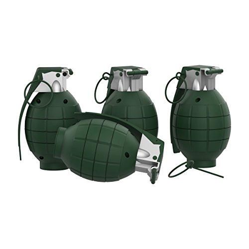 Army Grenade - Toy Grenade Set of 4 with Trigger, Pull Pin, Realistic Explosion Sound Effects-Military Pretend Play Accessories for Kids (Army Green)