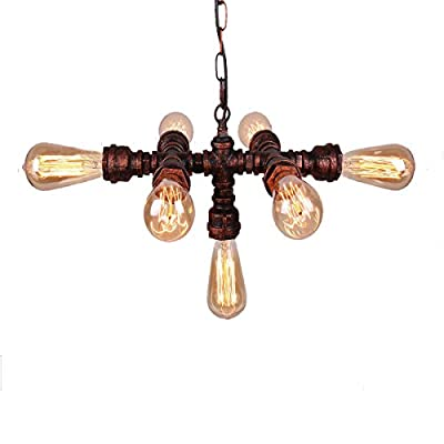 NAVIMC Water Pipe Hanging Vintage Industrial Pendant Light Iron Rustic Chandeliers Lighting Fixture(BULBS NOT INCLUDED?