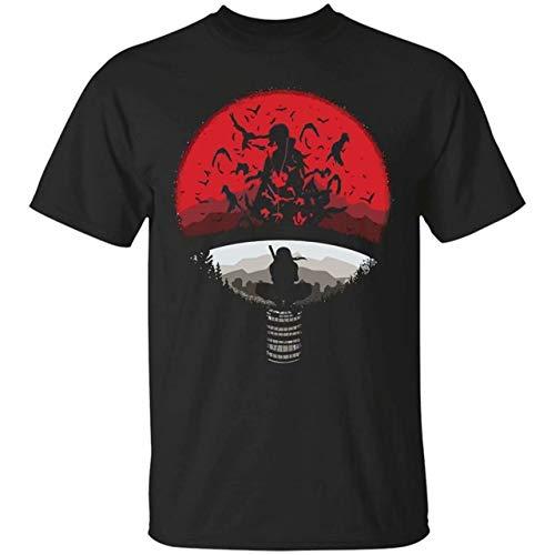 STONSTAIN Casual Mens Uchiha ClanMashup with Itachi Mangekyou Sharingan Sasuke Uchiha Design T-Shirt Black