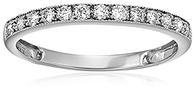 1/5 CT Milgrain Diamond Wedding Band 14K White Gold
