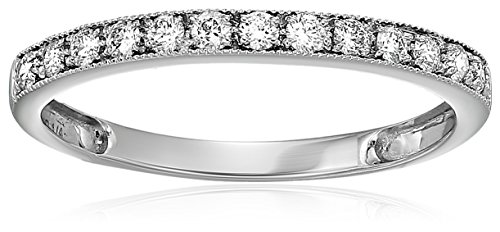 1/5 CT Milgrain Diamond Wedding Band 14K White Gold In Size 7 - Wide Diamond Band
