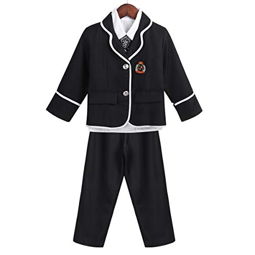 dPois Boys Girls' 4Pcs Set Japanese Korean Winter School Uniform Long Sleeves Shirt Blazer Suit with Pants/Mini Skirt Tie Black (Boys) 4-5