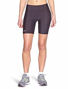 Under Armour Women's HeatGear Authentic Long Shorts, Black/Silver, X-Small