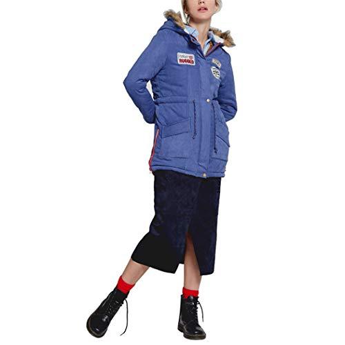 - AOJIAN Women Jacket Long Sleeve Outwear Plush Hooded Patch Zipper Button Coat Blue