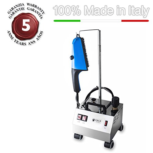 EOLO Steam brush for vertical ironing with energy saving copper boiler and external anti-scale resistor AV02 INOX - 230 Volts (On demand before order 110-120 Volts) by EOLO H&P