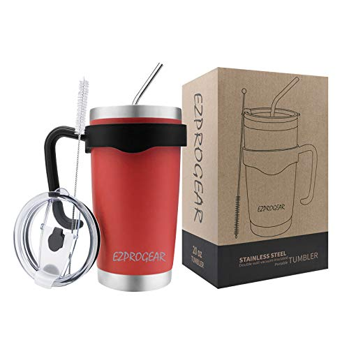 Ezprogear 20 oz Stainless Steel Travel Tumbler Double Wall Vacuum Insulated with Straws and Handle (20 oz, Red)