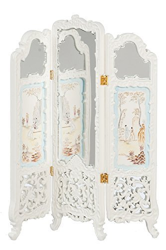 Melody Jane Dollhouse Hand Painted White Dressing Screen Mirrored JBM Miniature Furniture by Melody