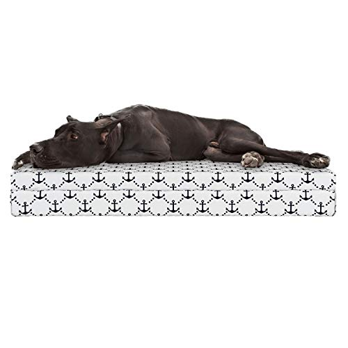 Lunarable Anchor Dog Bed, Dotted Tile with Anchors Marine Abyssal Vessel Yatch Boat Cruise Oceanic Design, Durable Washable Mat with Decorative Fabric Cover, 48