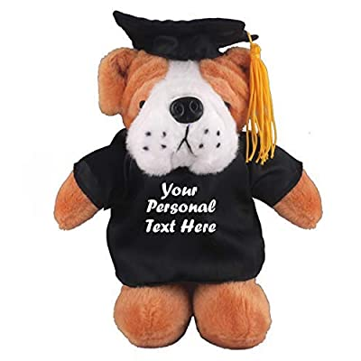 Plushland Plush Stuffed Animal Toys 8 Inches Present Gifts for Graduation Day, Personalized Text, Name or Your School Logo on Gown, Best for Any Grad School Kids (Graduation Bulldog Black Gown): Toys & Games
