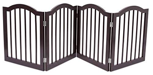 - Internet's Best Pet Gate with Arched Top | 4 Panel | 24 Inch Step Over Fence | Free Standing Folding Z Shape Indoor Doorway Hall Stairs Dog Puppy Gate | Fully Assembled | Espresso | MDF