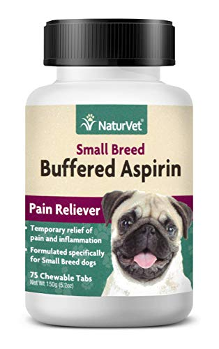 NaturVet - Buffered Aspirin - 75 Chewable Tablets - Provides Temporary Relief from Pain & Inflammation - Small Breed