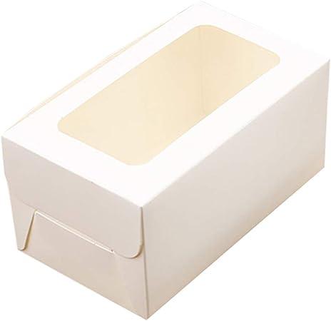 Caja de embalaje para cupcakes de Ningb, 10 unidades, 2/4/6 agujeros, caja de papel kraft para magdalenas de boda, fiesta, caja de soporte, Blanco, 2 holes: Amazon.es: Hogar