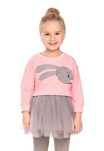 Price comparison product image Arshiner Girls Long Sleeve Cartoon Sweatshirt Dress Autumn Winter Outfits Cute Bunny Tops + Tulle Tutu