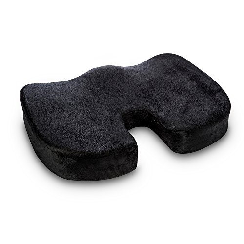 Ocean SR Orthopedic Seat Cushion Non Slip for Sciatica and Back Pain Relief, Coccyx, Posture Support for Office, Car, Wheelchair -Black