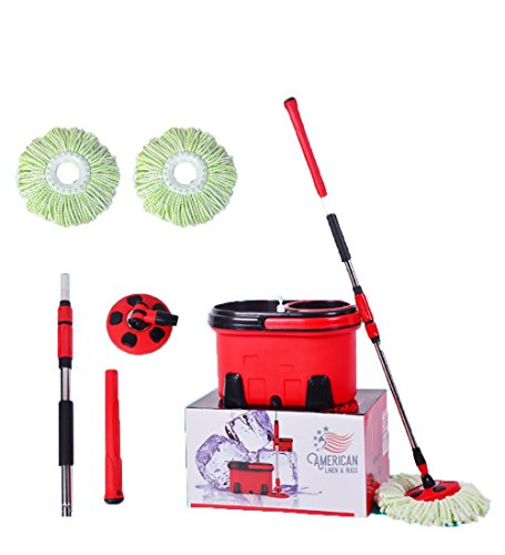 - All American Collection New and Improved 360 Spin Mop and Bucket System (Red-Black)