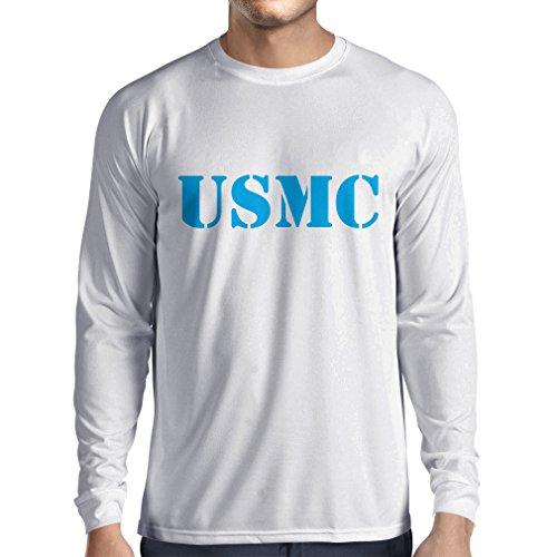 N4446L Long Sleeve t Shirt Men USMC (Small White Blue) (Homeland Security Uniform)