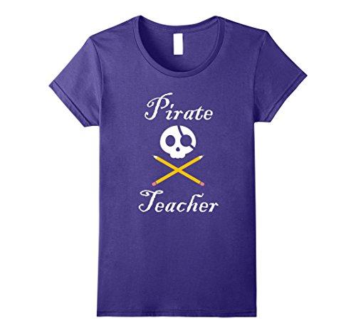 Womens Pirate Teacher Halloween T-shirt Medium Purple