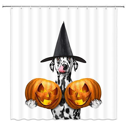 Animal Theme Halloween Shower Curtain Decor Funny Pumpkin Head Bathroom Curtain Decor Machine Washable with Hooks 72