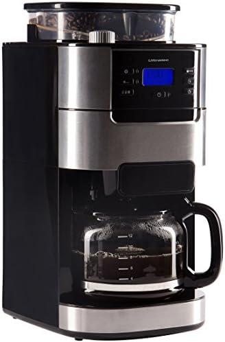 Ultratec Cafetera automática con molinillo y función de temporizador, cafetera automática, cafetera, incl. jarra de cristal y filtro permanente, acero inoxidable/negro: Amazon.es: Hogar