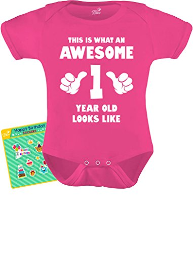 TeeStars - This is What an Awesome One Year Old Looks Like Funny Baby Bodysuit 12M Wow Pink]()
