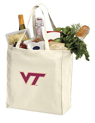 Reusable Virginia Tech Hokies Grocery Bags or Virginia Tech Shopping Bags NATURAL - Bag Vt Shopping