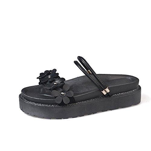black di da fondo sandali fondo scarpe sono resistente Estate donna vestire morbido piatto YMFIE confortevoli skid modi pantofole due e spiaggia 1UwOSRqxz