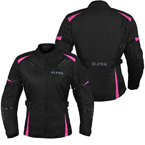 ALPHA CYCLE GEAR ALL SEASON WOMEN MOTORCYCLE JACKET WATERPROOF RIDING WITH CE ARMOUR (BLACK/PINK, 2X-LARGE)