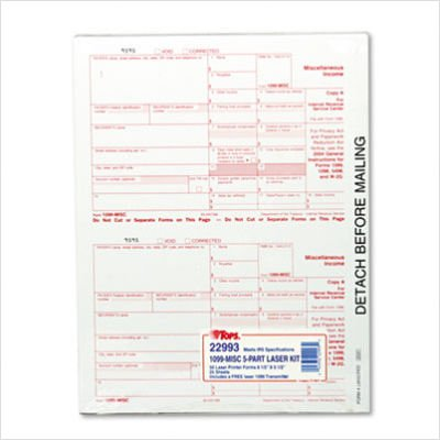 Tax/1099 Misc Income, 5-1/2 x 8, Carbonless, 50 Loose Form Sets/Pack