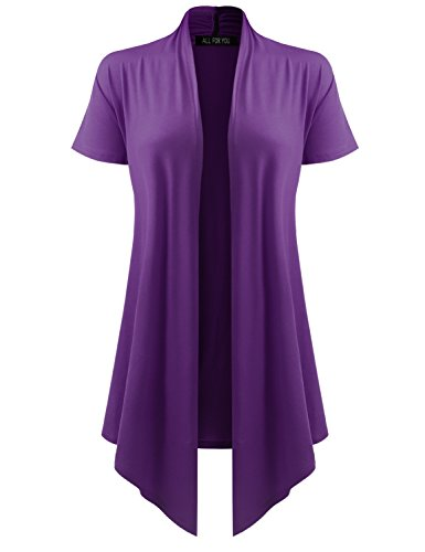 All You Women's Soft Drape Cardigan Short Sleeve Purple XXX-Large