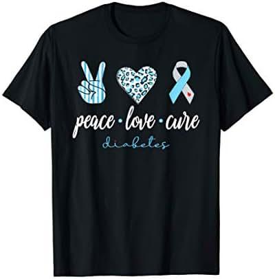 Peace Love Cure Grey Blue Ribbon Type 1 Diabetes Awareness T-Shirt