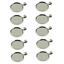 Generic 10pcs Blank Round Bezel Tray Base 25mm Cabochon Necklace Pendant Tibetan Silver