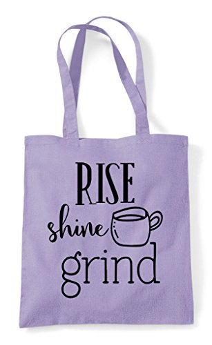 Coffee Bag Lavender Tote Statement Shopper Rise Shine Grind zSqPOP