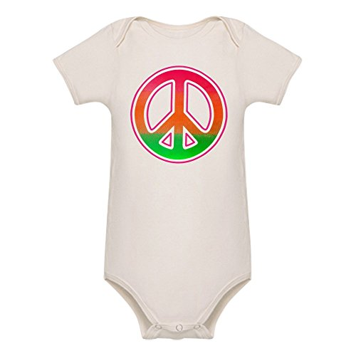 - Royal Lion Organic Baby Bodysuit Neon Peace Symbol - 18 to 24 Months