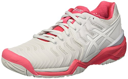 Gris Femme Resolution White Grey Red Tennis Rouge de Asics Chaussures Gel Glacier 7 0ApZR