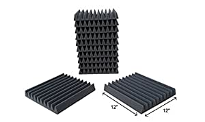 "12 Pack- Acoustic Sound Foam Wedge Tiles Panels (12 Square Feet) 12"" X 12"" X 2"""