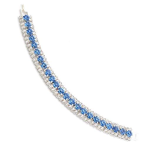 Strand Light Sapphire (Topwholesalejewel Wedding Bracelet Silver Plating Light Sapphire 3 Line Tennis Bracelet)