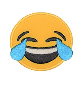 Emoji Face With Tears of Joy and Laughing Iron On Patch (Iron On)