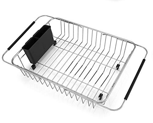 SANNO Expandable Dish Drying Rack Over The Sink Dish Drainer Dish Rack in Sink or On Counter with Utensil Silverware Storage Holder, Rustproof Stainless Steel
