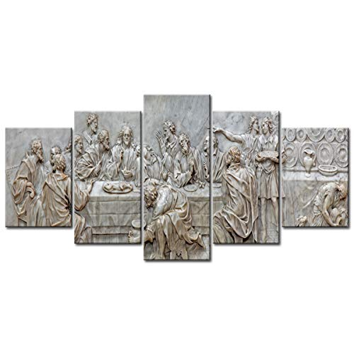 sunfrower 5 Pieces The Last Supper Wall Art Painting Canvas Prints Jesus Religious Decor Frieze Sculpture Home Decorations Stone Carving Three-Dimensional Relief 78.7